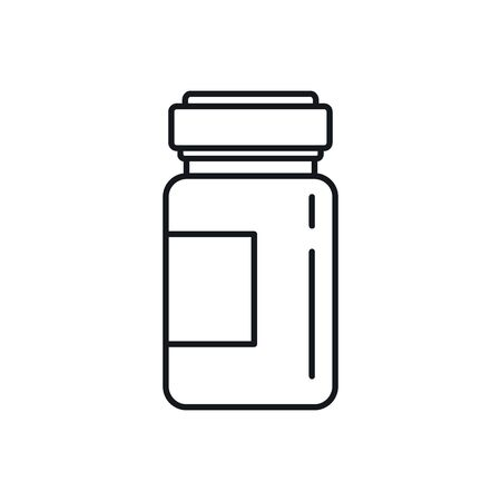 bottle of medicine outline icon. Vector bottle of medicine in outline style isolated on white background. Element for web, game and medicine advertising 向量圖像