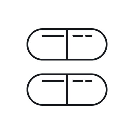 Pills outline icon. Vector Pills in outline style isolated on white background. Element for web, game and medicine advertising