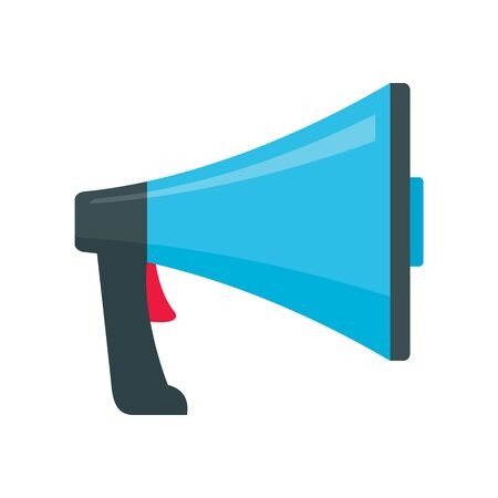 speak Megaphone flat icon. Vector speak Megaphone in flat style isolated on white background. Element for web, game and advertising
