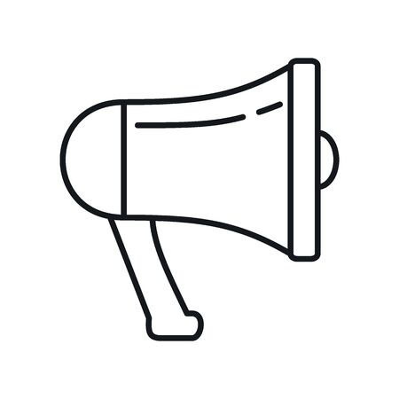 alert Megaphone outline icon. Vector alert Megaphone in outline style isolated on white background. Element for web, game and advertising 向量圖像