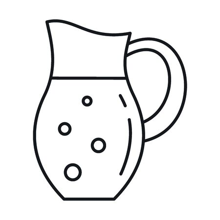 Milk in jug line icon. Vector Milk in jug in line style isolated on white background. Element for web, game and advertising 向量圖像