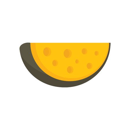 Swiss cheese flat icon. Vector Swiss cheese in flat style isolated on white background. Element for web, game and advertising Ilustração