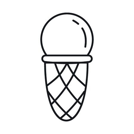 ice cream line icon. Vector ice cream in line style isolated on white background. Element for web, game and advertising