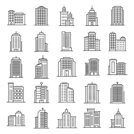 Outline vector buildings. Urban architecture, skyscrapers on white background. Hotel, university and bank, city library line downtown building icons set