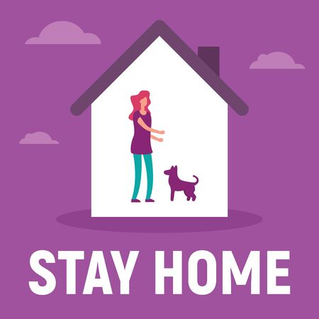Woman in the house is inside play with the dog. Vector concept with man on quarantine and self isolation play with the dog. Stay home 向量圖像