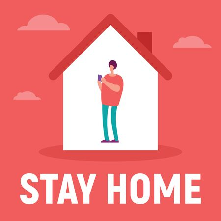 The man in the house is inside communicate with family, use social network, read text. Vector concept with man on quarantine and self isolation communicate with family, use social network. Stay home