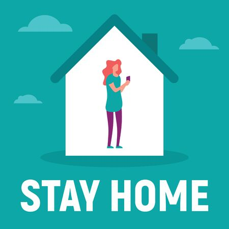 Woman in the house is inside communicate with family, use social network, read text. Vector concept with Woman on quarantine and self isolation communicate with family, use social network. Stay home 向量圖像