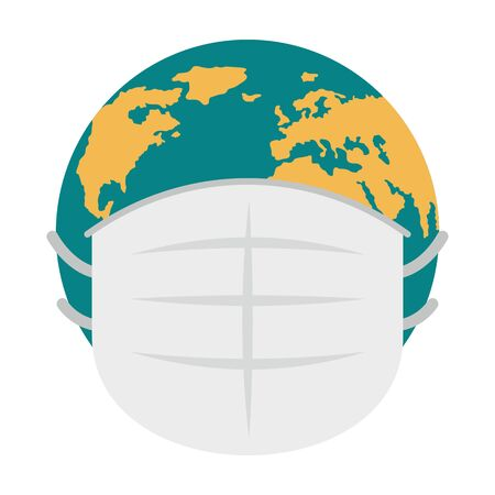 Earth in medicine mask. Vector concept with palet Earth in medicine mask. Symbol of quarantine and self isolation