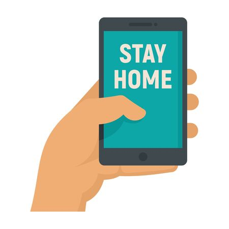 Hand holds smartphone with the inscription STAY HOME. Vector concept Quarantine. Stay home, save Earth