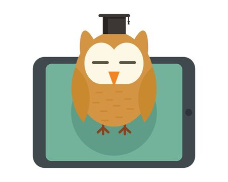 Distance learning. Vector illustration with tablet and wise owl, symbol of distance learning. Quarantined Learning 版權商用圖片 - 143433959