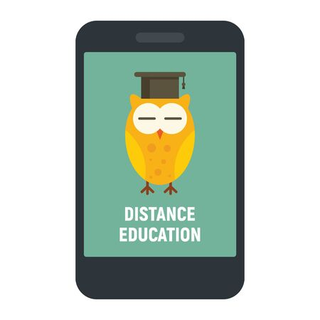 Distance learning. Vector illustration with smartphone and wise owl, symbol of distance learning. Quarantined Learning 版權商用圖片 - 143434050