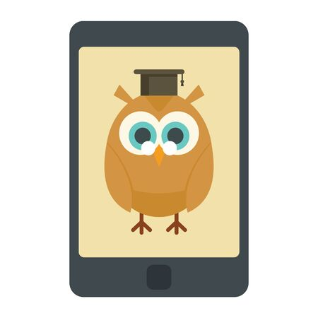Distance learning. Vector illustration with smartphone and wise owl, symbol of distance learning. Quarantined Learning