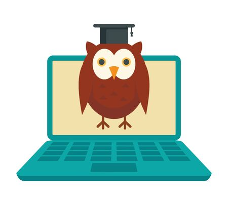 Distance learning. Vector illustration with laptop and wise owl, symbol of distance learning. Quarantined Learning  イラスト・ベクター素材