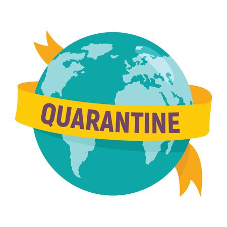 Planet Earth in Quarantine. Vector concept with Planet Earth in Quarantine. A yellow quarantined ribbon surrounds Earth. Coronavirus pandemic