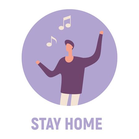Stay home and sing songs. Vector concept with man on quarantine and self isolation sing songs 版權商用圖片 - 143435937