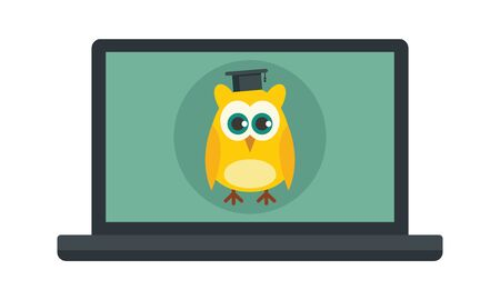 Distance learning. Vector illustration of a laptop with a wise owl, symbol of distance learning. Quarantined Learning  イラスト・ベクター素材