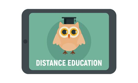 Distance learning. Vector illustration with tablet and wise owl, symbol of distance learning. Quarantined Learning