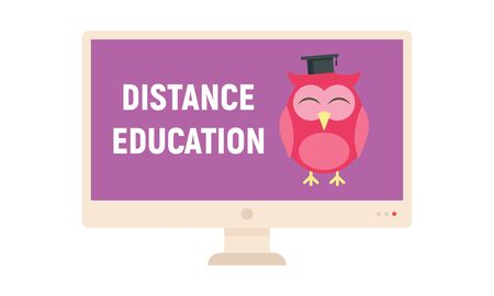 Distance learning. Vector illustration with monitor and wise owl, symbol of distance learning. Quarantined Learning 版權商用圖片 - 143438873