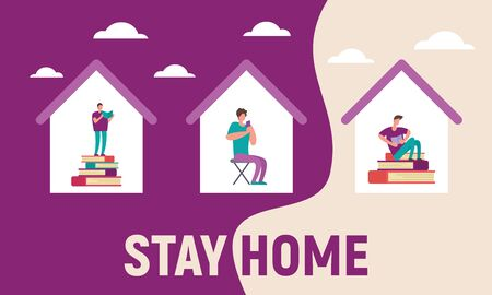 Vector banner with homes with people inside. Stay home and Read books, study, learn and have fun, talk and chat with friends on social networks