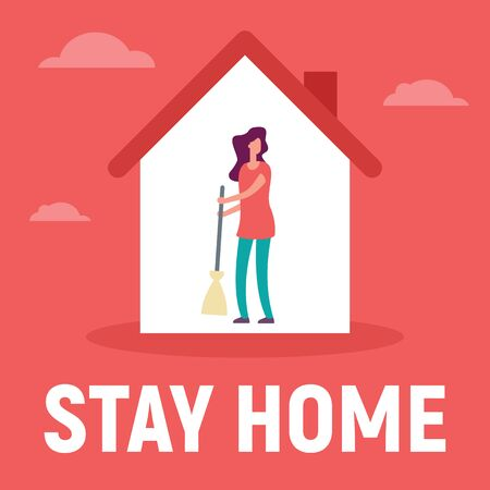 Woman in the house is inside make cleaning. Vector concept with man on quarantine and self isolation make cleaning. Stay home 版權商用圖片 - 143801016