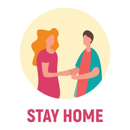 Stay home and and communicate with family. Vector concept with man on quarantine and self isolation communicate with family