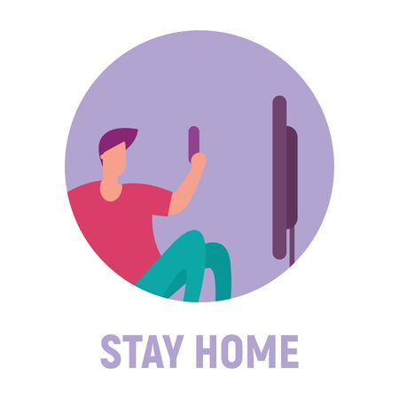 Stay home and watch movies and TV shows. Vector concept with man on quarantine and self isolation watching movies and TV shows 版權商用圖片 - 143801024