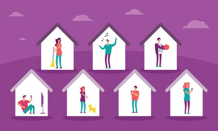 Vector banner with homes with people inside. Stay home and make cleaning, sing songs, play with the ball, watch movies, play with dog, talk and chat with friends on social networks