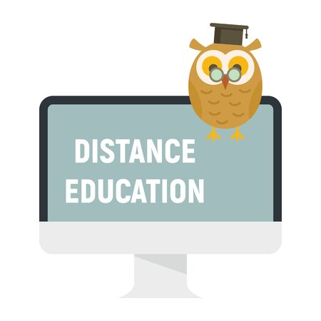Distance learning. Vector illustration with monitor and wise owl, symbol of distance learning. Quarantined Learning