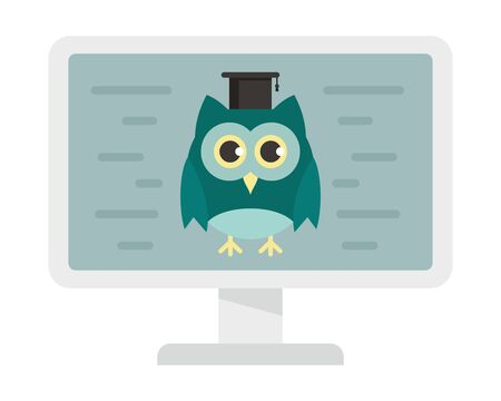 Distance learning. Vector illustration with monitor and wise owl, symbol of distance learning. Quarantined Learning 版權商用圖片 - 143801031