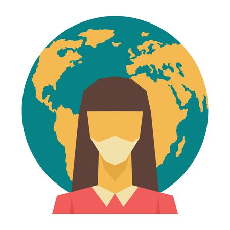 Woman in medical mask on Earth background. Vector illustration Earth quarantine.  イラスト・ベクター素材