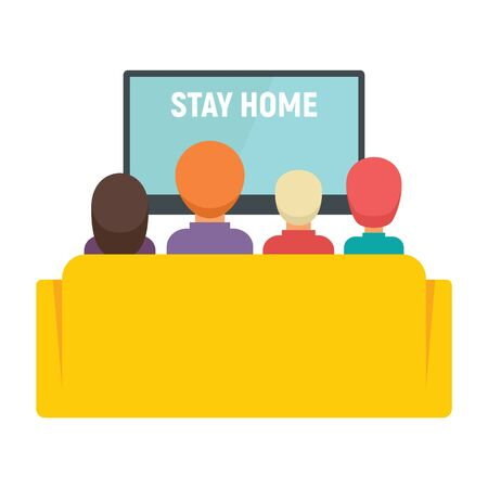 Family and kids watching tv vector concept. Illustration with Family watching tv with message Stay home.