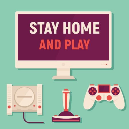 Stay home and play games. Vector concept with monitor, TV, concole and gamepads. Quarantine and self isolation