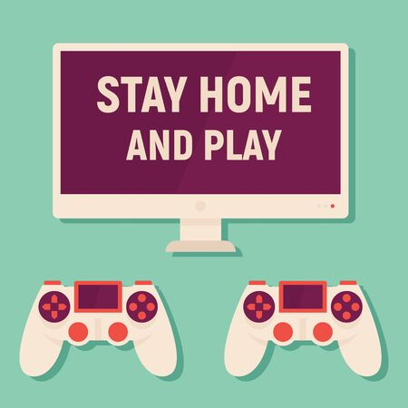 Stay home and play games. Vector concept with monitor and gamepads. Quarantine and self isolation