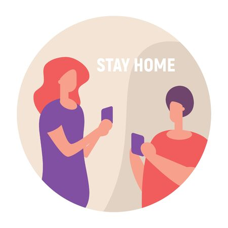 Stay home and talk with smartphone. Vector concept with man and woman on quarantine and self isolation talking with smartphone
