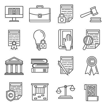 Outline copyright Icons set. Copyright Icons set in line style isolated on white background for website design, mobile application,   ui. Vector illustration Illusztráció
