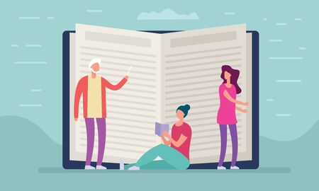 Distance education concept. Vector illustration with people beside open book. Element for education and learning design  イラスト・ベクター素材