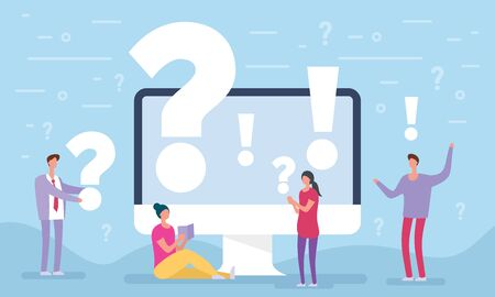 People asking questions around a huge question mark in computer. Question mark concept. Vector illustration for web banner, infographics, mobile. Landing page template. FAQ business manager. 向量圖像