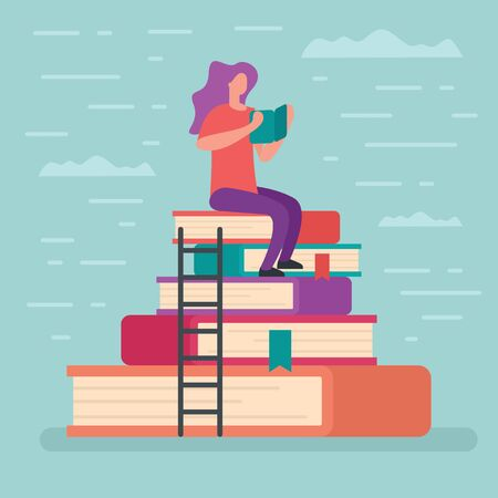 Woman sits on a high stack of books and reads book. Metaphorical concept, learning and studying, reading books. Element for education and learning design