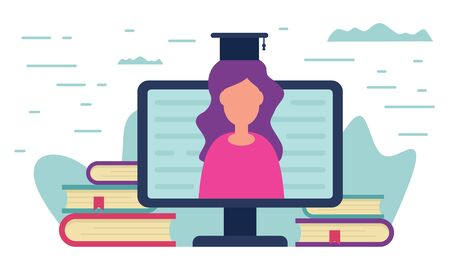 Distance education concept. Teacher learning on monitor screen around the books. Metaphorical concept of distance learning and online education.Vector illustration with Distance education.  イラスト・ベクター素材