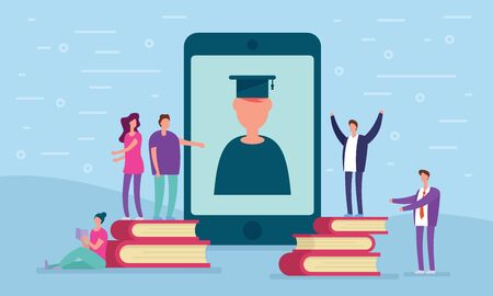 Distance education concept. Teacher study on the phone screen online around people are learning and around books. Metaphorical concept of distance learning and online education.  イラスト・ベクター素材