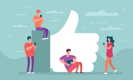 Social network and communication people. Like concept. People with phones at big thumbs up, like icon in flat style . Social media community background