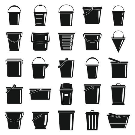Buckets black simple icons set
