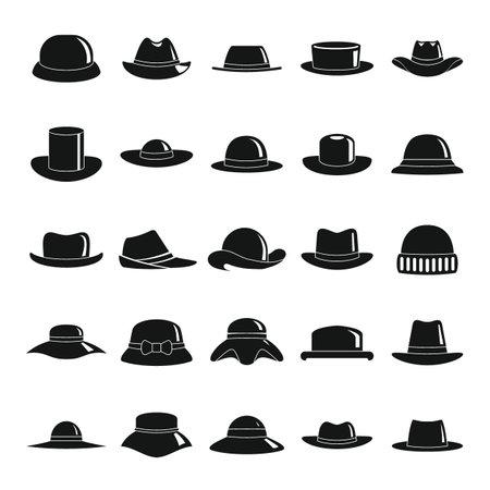 Hats black simple icons set
