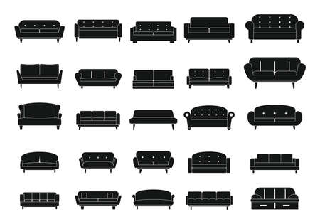 Sofa black simple icons set.