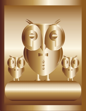 Important chief in the form of a golden owl and his team Vector