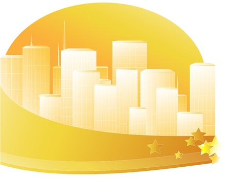 Cityscape with skyscrapers on the background of sun. Vector