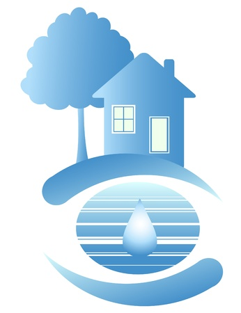 Blue house on the clean planet and drop of water
