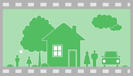 datcha: Happy family friendly dans la maison de campagne. Fond vert. Frame. Illustration