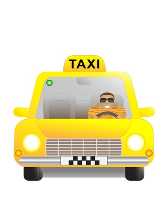 yellow taxi: Happy man in a yellow taxi car.