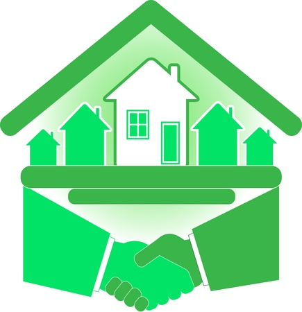 Handshake partners and successful real estate agreement. Vector